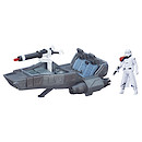 Star Wars The Force Awakens 9cm First Order Snowtrooper Officer and Snowspeeder