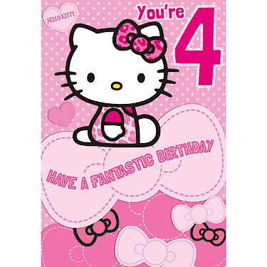 Hello kitty birthday card 4 years the entertainer the hello kitty birthday card 4 years enlarged view of picture bookmarktalkfo Gallery