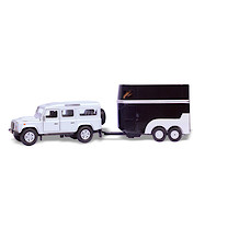 Die-Cast Pull-Back Landrover Defender with Horse Trailer