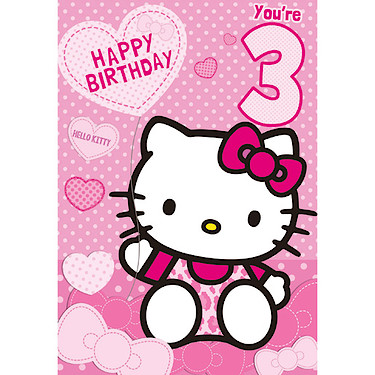 Hello kitty birthday card 3 years the entertainer the hello kitty birthday card 3 years enlarged view of picture bookmarktalkfo Gallery