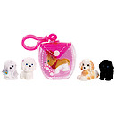 Puppy In My Pocket 5 Puppy Pack with Pink Clip On Pouch