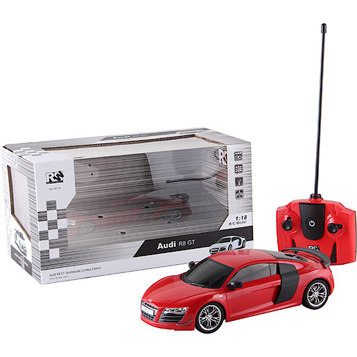 Image of 1:18 Remote Control Car - Red Audi R8 GT