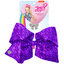 JoJo Siwa 20cm Signature Sequin Bow And Necklace Set - Purple