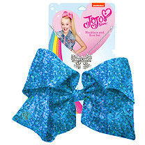 JoJo Siwa 20cm Signature Sequin Bow And Necklace Set - Blue