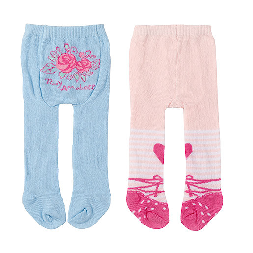 Baby Annabell Tights 2 Pack  Floral Roses & Peach Colour Design