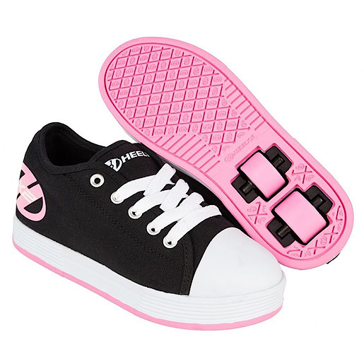 Heelys - Size 1 - Black and Pink X2 Fresh Skate Shoes