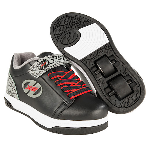Heelys - Size 1 - X2 Black and Grey Elephant Dual Up Skate Shoes