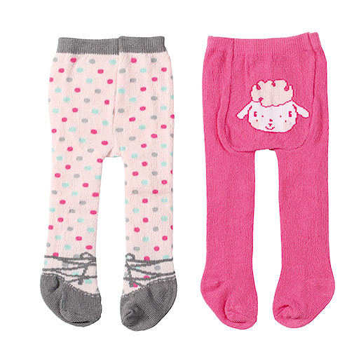 Image of Baby Annabell Tights 2 Pack - Polkadot & Little Lamb Design