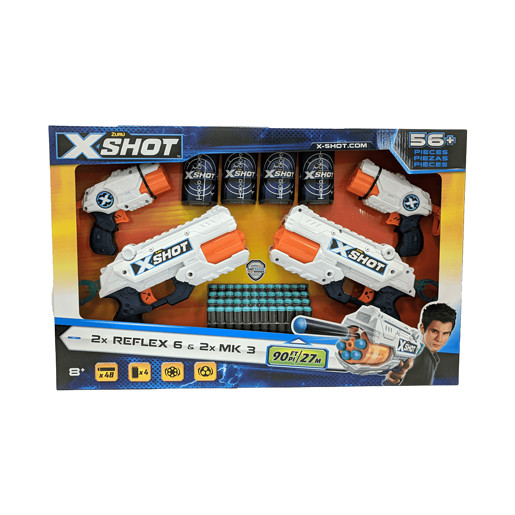 X-Shot 4 Pack - 2 x Reflex 6 and 2 x MK3 By ZURU