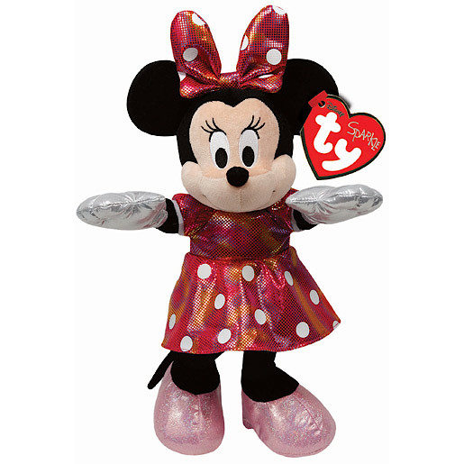 6e2911cb523 Ty Disney Laughing Minnie Beanie Boo Soft Toy with Dotted Dress ...