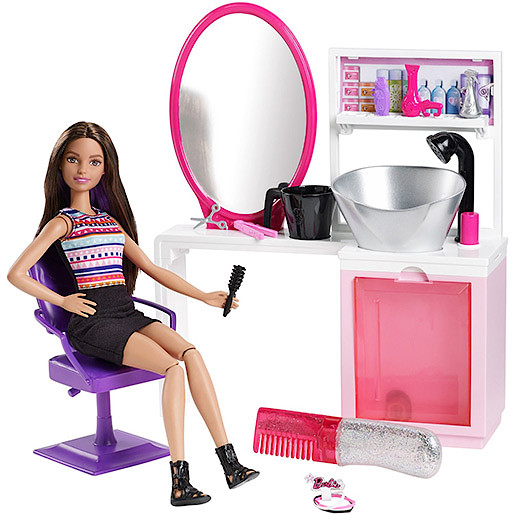 Image of Barbie Sparkle Style Salon Playset with Brunette Doll