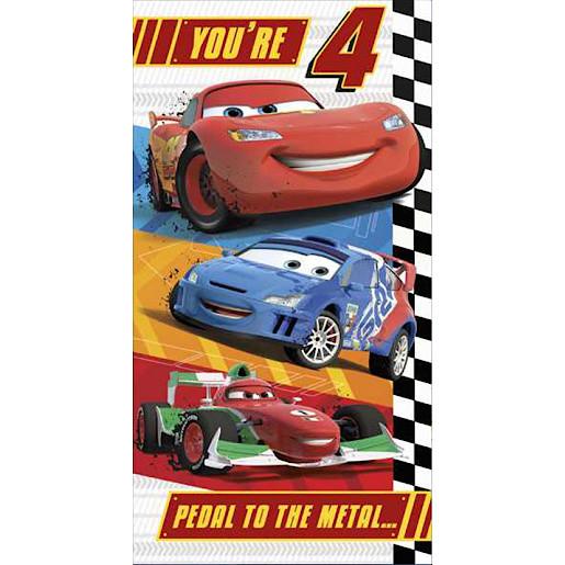 Disney Cars Birthday Card 4 Years Disney Pixar Cars Disney