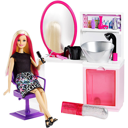 Image of Barbie Sparkle Style Salon Playset with Blonde Doll