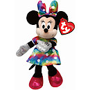 Ty Disney Laughing Minnie Beanie Boo Soft Toy with Rainbow Dress