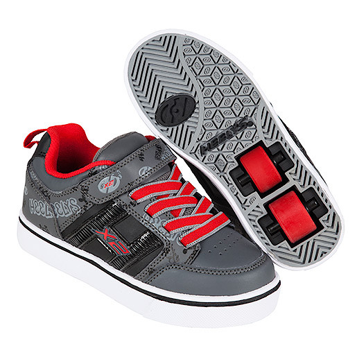 Heelys - Size 2 - X2 Black and Red Bolt Skate Shoes