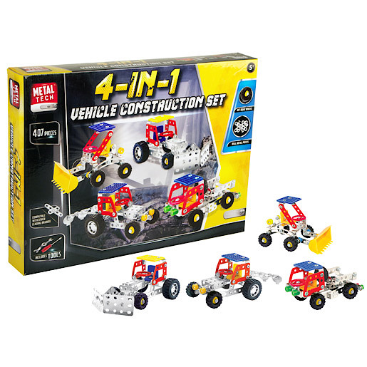 Image of Metal Tech 4 in 1 Construction Vehicle Building Set