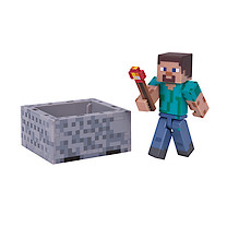 Minecraft Steve Figure with Minecart and Accessories