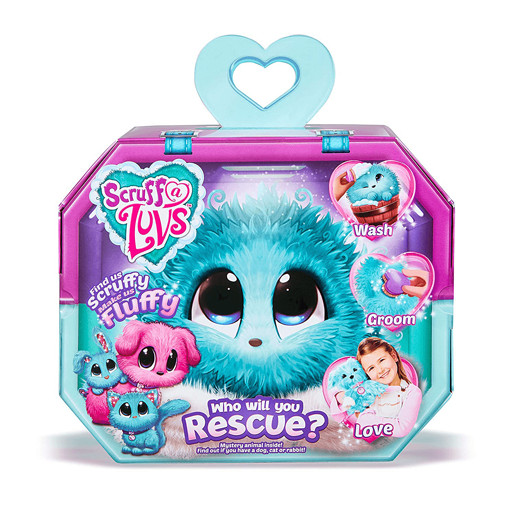 Scruff A Luvs Rescue Pet Mystery Soft Toy - Aqua