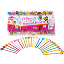 24 Pencils With Assorted Erasers
