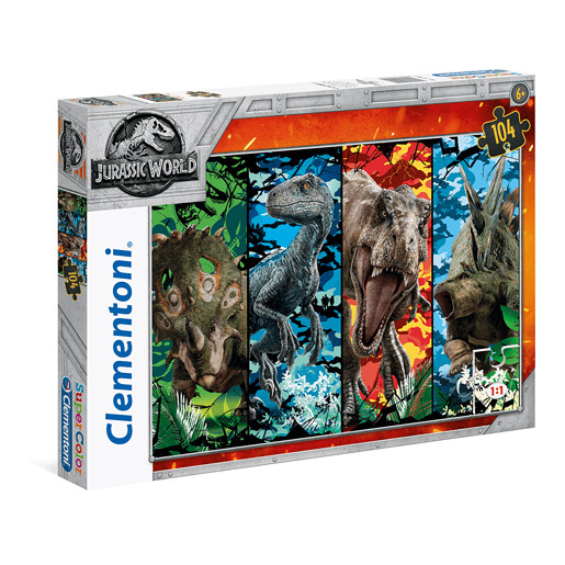 Clementoni - Supercolor Jurassic World Puzzle 104pc.