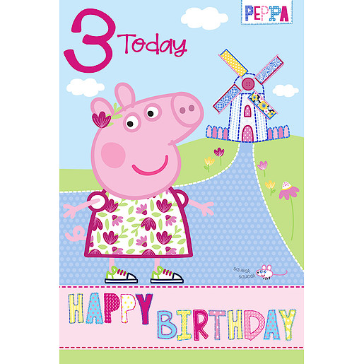 Peppa Pig Age 3 Birthday Card
