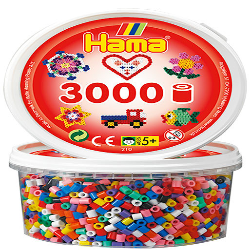 Hama Beads 3000 Colourful Solid Beads in a Tub