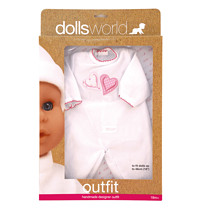 Dolls World Outfit - Love Hearts Baby Grow