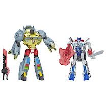 Transformers Silver Knight Optimus Prime and Grimlock Figures
