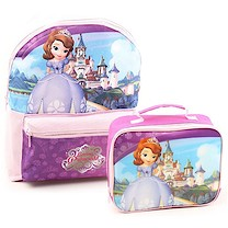 Disney Sofia the First Backpack and Lunchbag Bundle