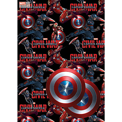 Marvel Captain America 2 Wrapping Paper Sheet & 2 Gift Tags Pack