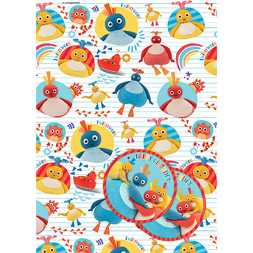 Twirly Woo's 2 Wrapping Paper Sheets & 2 Gift Tags Pack