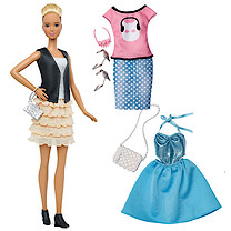 Barbie Fashionistas Leather & Ruffles Doll with Fashion Outfits