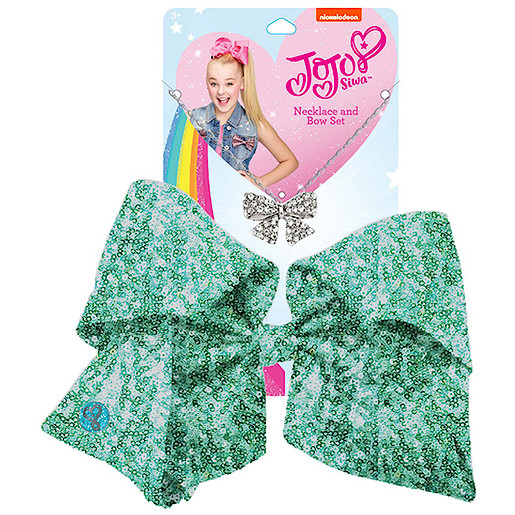 Picture of JoJo Siwa 20cm Signature Sequin Bow And Necklace Set - Mint