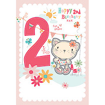 Pink Happy 2nd Birthday Cat Card