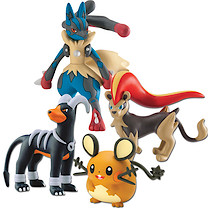 Pokemon XY 4 Figure Gift Pack - Lucario, Female Pyroar, Dedenne and Houndoom