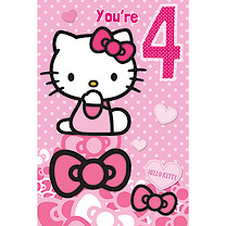 Hello Kitty Age 4 Birthday Card