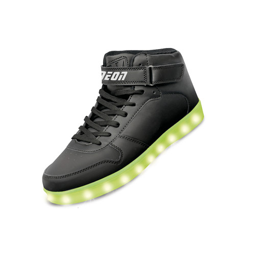 Neon Kyx - Size 7.5 Adult Black High Top Light Up Shoes