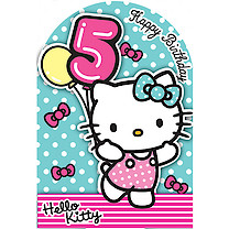 Hello Kitty Happy Birthday Card - 5 Years