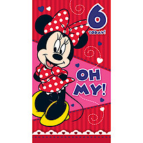 Minnie Mouse 6th Birthday Card