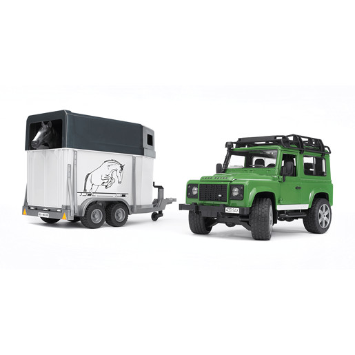 Bruder Land Rover Defender with horse trailer inkl. 1 horse