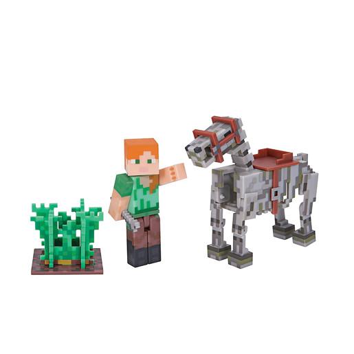 Minecraft Alex With Skeleton Horse Figure