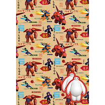 Big Hero Six 2 Sheets of Wrapping Paper and 2 Gift Tags Pack