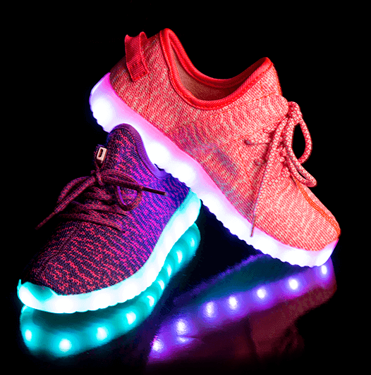 Pair of LED Light up Light and Sole Shoes